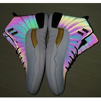 Air Jordan 12 Rainbow White Men Sneakers