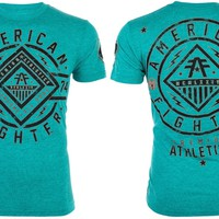 Licensed Official AMERICAN FIGHTER Mens T-Shirt BIRCHWOOD Athletic CRYSTAL BLUE Biker Gym UFC $40