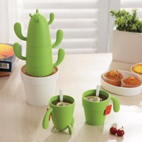 Estaly Stackable Cactus Plant Mugs Set for Coffee or Tea. Cute Southwestern Decor