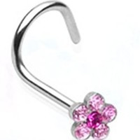 18g Surgical Steel Nose Ring Screw Body Jewelry Piercing with Pink Gem Flower 18 Gauge Nemesis Body JewelryTM