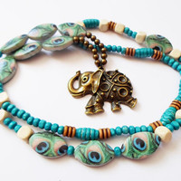 Elephant Pendant Necklace, Blue Boho Long Necklace, Peacock Beaded Necklace, Hippie Yoga necklace, Long Colorful Necklace, Christmas gift