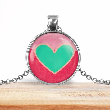 Teal and pink Valentine's Day heart pendant necklace, choice of silver or bronze, key ring option