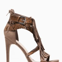 Taupe Faux Suede Snake Contrast Fringe High Heels @ Cicihot Heel Shoes online store sales:Stiletto Heel Shoes,High Heel Pumps,Womens High Heel Shoes,Prom Shoes,Summer Shoes,Spring Shoes,Spool Heel,Womens Dress Shoes