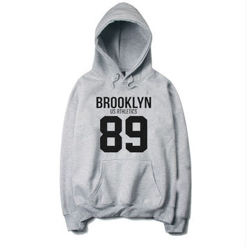Free shipping new brand fashion Hoodie Sweatshirt BROOKLYN  Hoodie cotton Hoodies Size European Suitable for men and women style