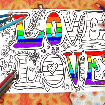 love is love coloring gay lgbt lesbian instant download colouring coloring home decor meditation zen printable print digital lasoffittadiste