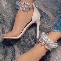 Rhinestone Fashion Women Peep Toe Sandals High Heels Shoes