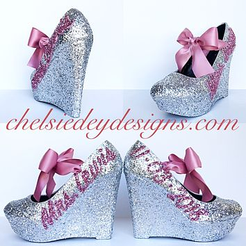 Silver Wedge Glitter Pumps, Mauve Pink Wedding High Heels with New Last Name