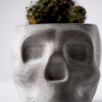 Concrete Mini-Skull Planter + Tealight Holder