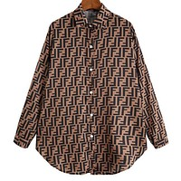 FENDI New Trending Women Stylish Full F Letter Print Long Sleeve Lapel Shirt Top Coffee