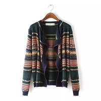 Printed Long Sleeve Cardigan Sweater