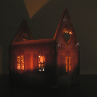 Gingerbread House Christmas candle / Hurricane candle slightly ginger biscuit scented / Christmas candle & home decor / Christmas gift idea
