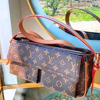 Copy of Louis Vuitton Lv used saddle bag Masculine style V Type Contrast Coffee