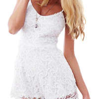 White Lace Cami Rompers