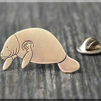 Brass Manatee Tie Tac, Sea Creature Lapel Pin, Animal Lover Brooch, Gift for Him, Gift Under 10 Dollars, Tie Tack, Manatee Unisex Pin