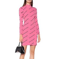 balenciaga Long Sleeve Bodycon Dress pink