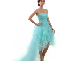 Dlass Sweetheart High Low Tulle Prom Dresses Blue