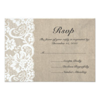 White Lace and Burlap Wedding RSVP Card 3.5