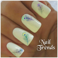 Nail Decal. 20 Peacock Feather Vinyl Stickers Nail Art