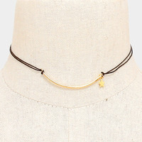 Black Cord & Gold Curved bar star charm choker necklace