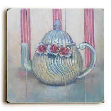 Antique Teapot by Artist Carol Schiff Wood Sign