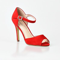 Red Faux Suede Peep Toe Alina d'Orsay Stiletto Pumps