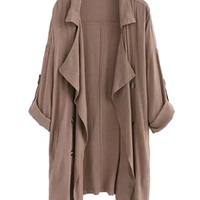 Coffee Lapel Roll-up Sleeve Trench Coat