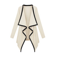 Beige Contrast Long Sleeve Asymmetric Cape Cardigan Top