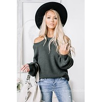 Taking It All In Cold Shoulder Sweater Top