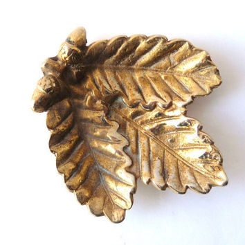 Golden Vintage Brass Tray - Leaf - Ashtray
