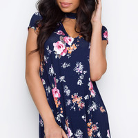 No Regrets Choker Dress - Navy Floral