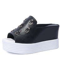 Women's Real Leather Platform Wedge Sandals