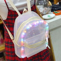 waterproof LED light transparent backpack fashion travel women girls ladies pvc bookbag