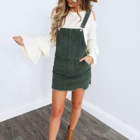 Bring It Home Overall Dress: Olive