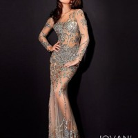 Sheer and Beaded Gown, Style 9503