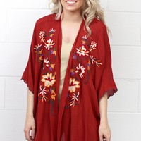 Darling Details Embroidered Kimono {Red Clay} EXTENDED SIZES