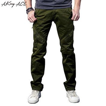2017 Mens Vintage Army Green Cargo Casual pants military cargo pants for men zipper knee Baggy trousers Loose fit 29-38, ZA223