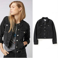 Women Big Hole Ripped Destroyed Distressed Jeans Denim  Sweater Cardigan Coat Jacket Outerwear _ 9926