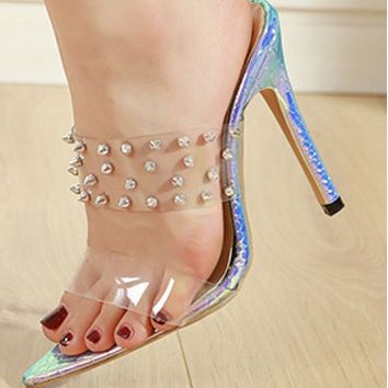 Explosive rivet comfortable and simple high-heel sandals