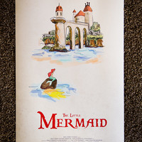 ON SALE Disney's The Little Mermaid Limited Edition Giclee Print, Poster, Digital Painting 14.5x24