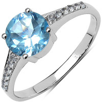 Blue And White Topaz Sterling Silver Ring