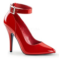 Seduce 431 Point Toe Single Sole Ankle Strap Pump 6 -16 Red Patent