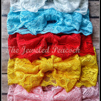 MESSY BOW,  more colors! headband, lace, floppy bow, large bow, headwrap, red, aqua blue, pink, white, yellow, boutique baby toddler girl,