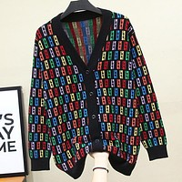 Fendi New fashion multicolor more letter print v-neck long sleeve coat cardigan