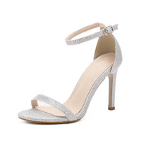 2016 New Sequins Leather Women Sandals Summer Sexy Gold Silver Ankle Strap High Heel Sandals Open Toe Party Wedding Shoes C1119