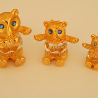 Rare- Hard to Find SWAROVSKI Crystal TRIMLITE T Bear Figurines- Mama-Papa and Baby Bear- Trimlite T collectable Figurine 1980s