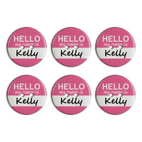 Kelly Hello My Name Is Plastic Resin Button Set of 6