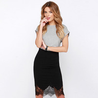 Casual Lace Edge Midi Skirt