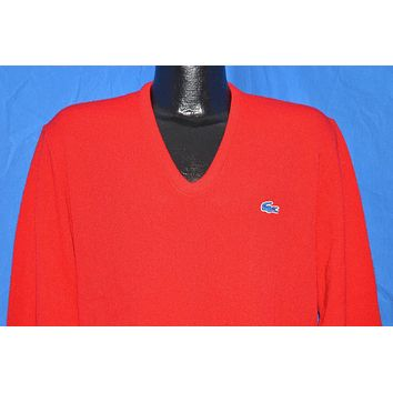 80s Izod Lacoste Crocodile Red V-Neck Pullover Sweater Large