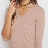 Tan Round Split Tee | Long Sleeve | rue21