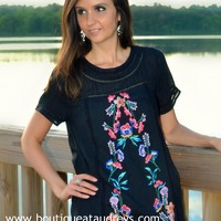 Umgee Black Shift Dress with Colorful Embroidered Detail